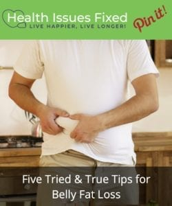 Five Tried & True Tips for Belly Fat Loss pinterest graphic