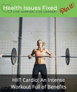 Woman doing cleans for her HIIT Cardio - Pinterest Graphic